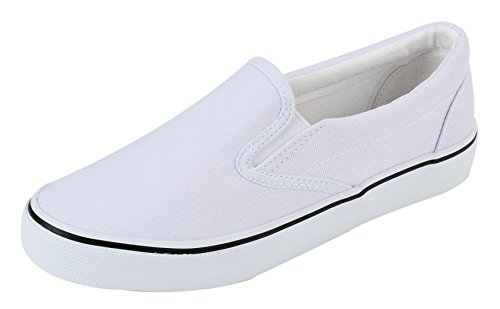 (UJoowalk Womens White Comfortable Casual Canvas Slip On Fashion Sneakers Loafers Walking Skate Shoes - Size 9.5)