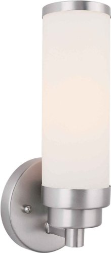 Forte 50012-01-55 One Light Bath Bracket, Brushed Nickel Finish Satin Opal Glass