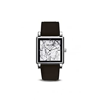Armbanduhr Damen selvine Zifferblatt 28 mm aus Legierung Marmor grau und schwarz und Armband schwarz Leder SPHO