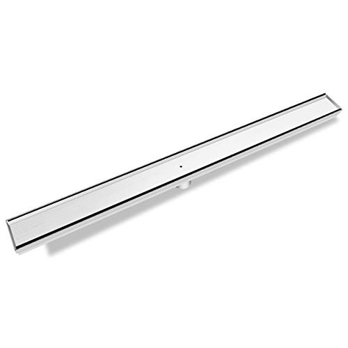 Bronstarz 30-INCH Linear Shower Drain with Tile Insert Grate, Brushed Nickel 304 Stainless Steel for Bathroom Kitchen Pool Floor Drain Strainer ()