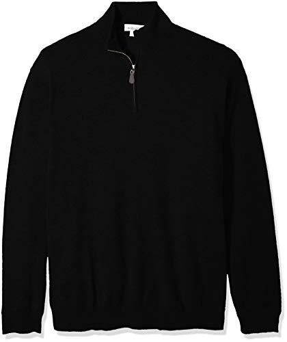 Williams Cashmere Men's Tall 100% Cashmere Mock Neck Pullover Haff Zip Sweater, Black XT ()