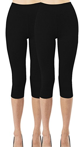 (iLoveSIA 2PACK Women's Capri 3/4 Leggings Size XL Black+Black)