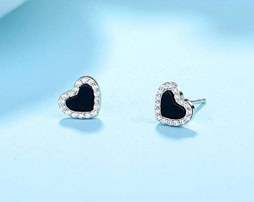 - Kin Love Heart-Shaped Earrings S925 Sterling Silver Black Onyx Earrings Jewelry (Color : Gold)