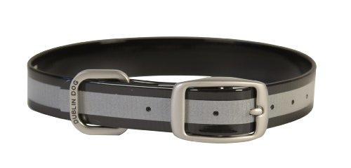 Dublin Dog 12.5-Inch to 17-Inch KOA Reflective Waterproof Dog Collar, Medium, Black