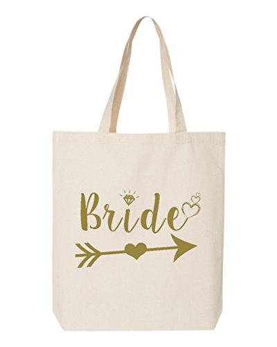 (Shop4Ever Bride Heart Arrow Gold Eco Cotton Tote Wedding Reusable Shopping Bag 6 oz Natural 1 Pack Eco)