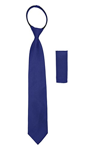 Standard Sateen Royal Blue Zip Up Tie with Hankie Set