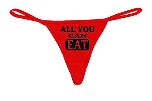 Women's Funny Novelty Thong Tanga G-String All You can eat Lingerie G-String: RED (Med)