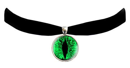 Victorian Vault Cat Dragon Eye Black Velvet Choker Steampunk Gothic Pendant Necklace (Green)