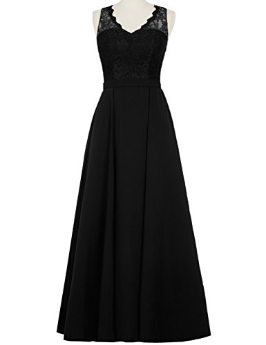 Line Trim Evening Duraplast Formal Gown Women's Long Lace A Dress Black UHwXUq