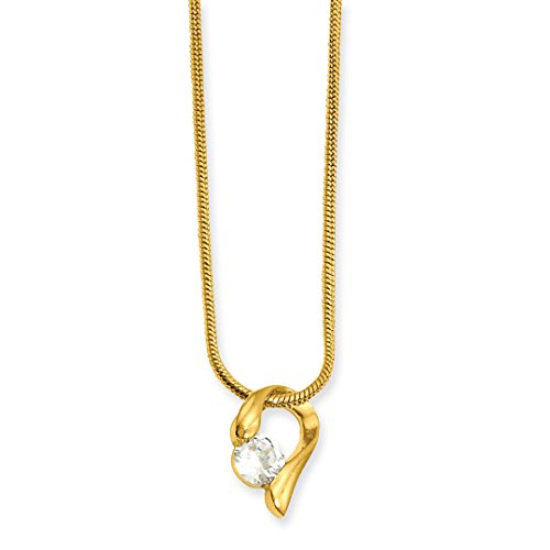 (ICE CARATS 18in Gold Plated Kelly Waters Cubic Zirconia Cz Chain Necklace Pendant Charm Fashion Jewelry Gifts for Women for Her)