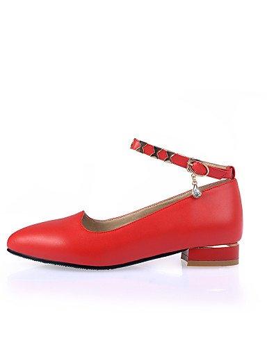 rojo cn37 7 Toe y blanco 5 uk4 tacón PDX white bajo 5 carrera Jane zapatos oficina eu37 mujer us6 Flats casual vestido de de Punta negro 5 Mary 77Tqfp