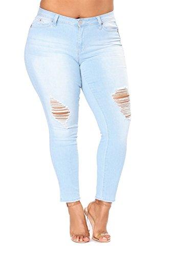 haute Dunland plus Femme Fashion lasticit Size Pantalons trou Denim Skinny taille Jeans Dchirs YwRYqar