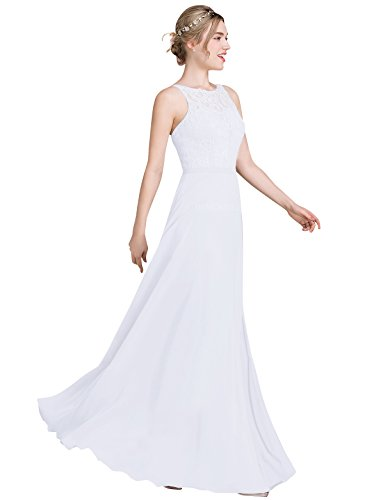 Loffy Women's Long Prom Dress Bridesmaid Dress Lace Chiffon Evening Gown White Size (White Greek Dress)