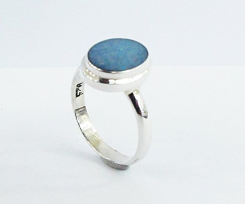 Handmade 925 sterling silver ring with genuine doublet opal, natural opal ring size 6, genuine australian fire opal (Natural Doublet)