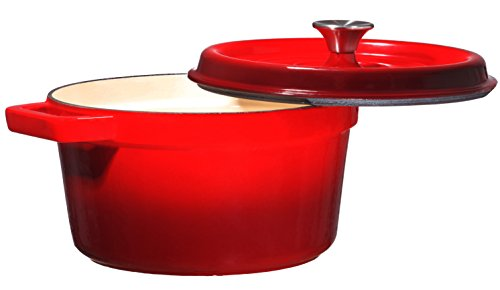 Bruntmor, Enameled Cast Iron Dutch Oven Casserole Dish 6.5 quart Large Loop Handles & Self-Basting Condensation Ridges On Lid (Fire Red) by Bruntmor