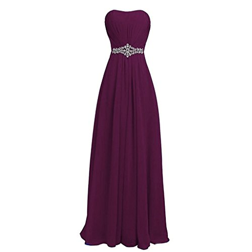 Lemai Women's Sweetheart Crystals A Line Long Chiffon Formal Prom Evening Dresses Dark Plum US 14