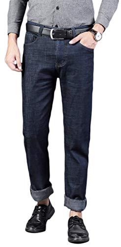 Plaid&Plain Men's Flannel Lined Jeans Fleece Lined Insulated Work Pants Slim Bootcut Jeans H187 Dark Blue 32x30 ()
