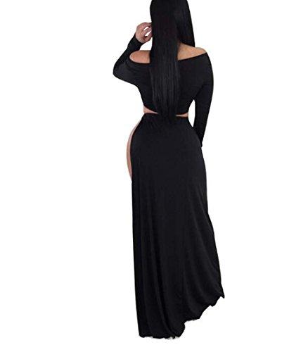 2 tamaño Color XIAOXIAO en en Piezas Piezas con para Dos Negro Dividido HEFEI Vestido S Largo Cuello Dividido Mujer V 4nUwaqOAxZ