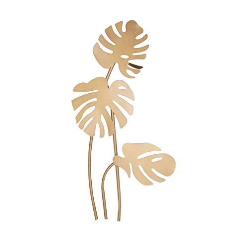 Palm Leaf Wall Sculpture - Gold Palm Leaf Wall Metal Art Tropical Leaves Wall Decor Floral Sculpture Flower Design Hanging Wall Sign Indoor Home Decor Unique Creative Design Beach Themed Handmade Metalwork Best Gift, 42