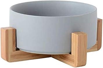 Bowl para Gatos y Perros - Cuencos elevados para Mascotas Comedero y Bebedero de cerámica para Perros Gatos Cachorros con Soportes de Bambú Antideslizante Cuenco de Agua para Personalizado y Práctico