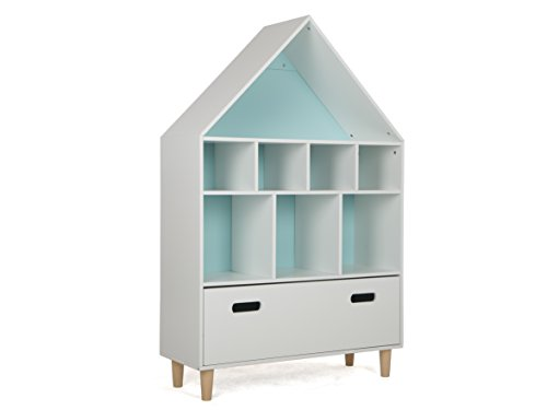 LUCKUP Kids Furniture Children Wood 3-Tier Tall Shelf Bookcase with Drawer, Sky Blue