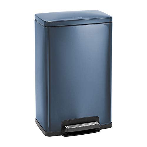 Tramontina Stainless Steel Rectangular Step Can Freshener System, Trash Can (Blue, 13-Gallon) by Tramontina
