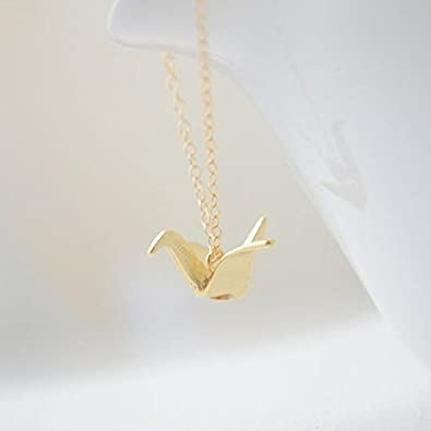 Amazon origami crane necklace gold crane origami necklace origami crane necklace gold crane origami necklace dainty necklace everyday necklace mozeypictures Image collections