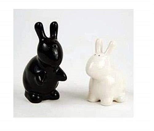 Bunny Rabbit Salt & Pepper Shaker Set, Black and White By 180 Degrees (Salt Rabbit Pepper)