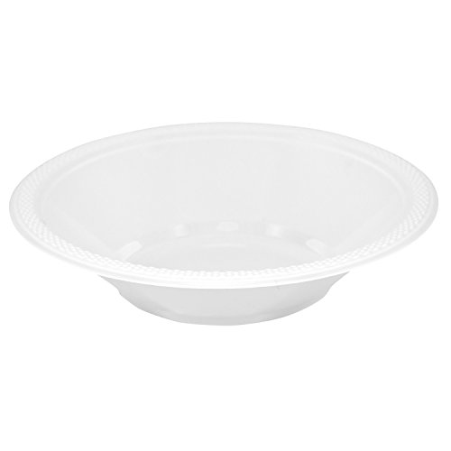 (JAM PAPER Disposable Plastic Bowls - Small - 12 oz (7 Inch Diameter) - White - 20/Pack)