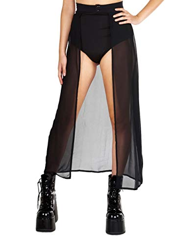 1ffd6e089 iHeartRaves Black Open Front Sheer Chiffon Maxi Skirt (Small ...