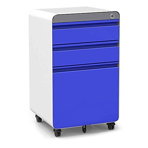 3-Drawer Filling Cabinet, Metal Vertical File Cabinet with Hanging File Frame for Legal & Letter File Install-Free Anti-tilt Design and Lockable System Office Rolling File Cabinet-Blue/White (3 File Vertical Drawer)