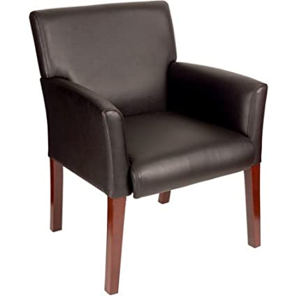 Amazon.com: Mid-Back Guest Chair, Black and Mahogany, Made of Vinyl ...