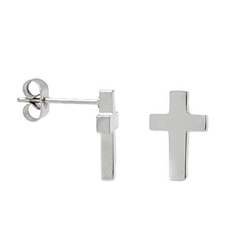 - Small Silver Tone Stainless Steel Cross Stud Religious Post Earrings Men Women (1/2 Inch)