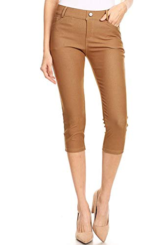 BENNY & LOUIE Women's Cotton Blend Stretchy Skinny Jeggings Pants 817 Dark Khaki XL
