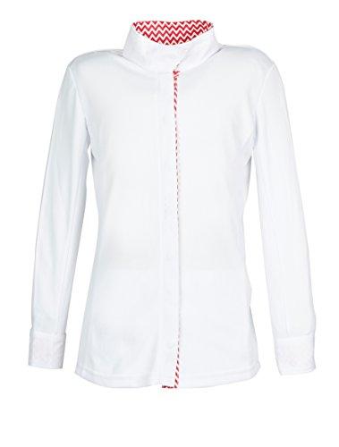 English Show Clothes - Dublin Ladies L/S Coolmax Comp Shirt - White/Pink Chevron - Large