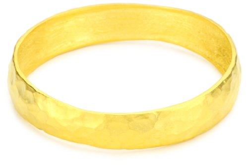 Kenneth Jay Lane Satin Gold-Plated Hammered Bangle Bracelet