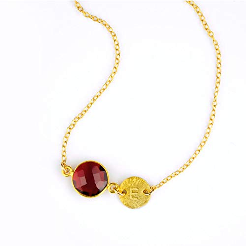 - January Birthstone Necklace with Initial Charm, Garnet Necklace, Initial Necklace, Personalized Birthstone Necklace, Name Necklace, 10mm Round Connector with Large Stamped Heart