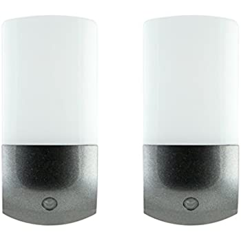 Energizer 37102 LED Automatic Night Light, 2 Pack, Light Sensing, Auto On/Off, Plug-in, Soft White, Brushed Nickel Finish, Ideal for Home, Entryway, ...