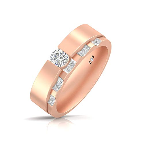 Semi Bezel Solitaire Setting - 14KT Gold with 0.20 Carats Glossy Finish Mircopave Semi Bezel Set Solitaire Diamond Band Ring for Her - RF1764