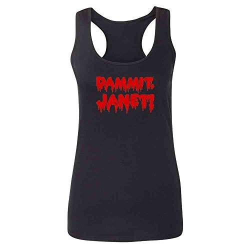 Pop Threads Dammit Janet! Funny Halloween Black M Womens Tank Top -
