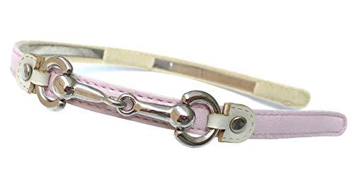 Horsebit Snaffle - Silver Snaffle horse bit equestrian faux Leather Headband (Pink)