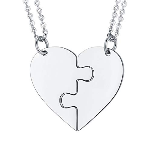 U7 BFF Necklaces for 2 Stainless Steel Heart Shape Set Best Friends Friendship/Couple/Lover/Brother/Sisters Pendants with Chain, Blank Version