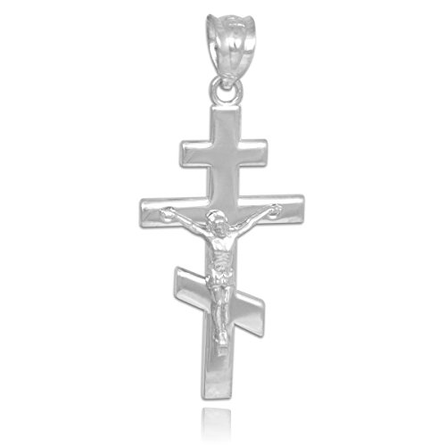 Petits Merveilles D'amour - 14 ct Or Blanc 585/1000 Orthodoxe Russe Crucifix Pendentif