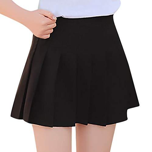 Pleated Skirt for Women High Waist Wild Solid Tennis Scooters Skater Tennis Short Skirts (L, Black)