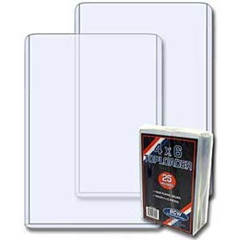 - (100) 4x6 Post Card & Photo Topload Holders - Rigid Plastic Sleeves - BCW Brand