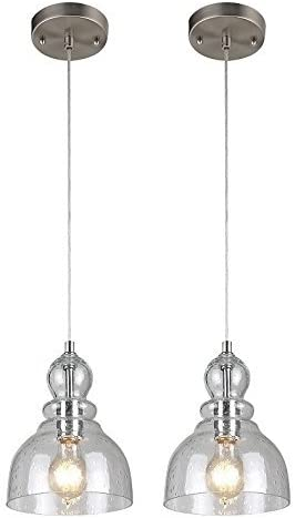 Westinghouse One-Light Adjustable Mini Pendant with Handblown Clear Seeded Glass, Brushed Nickel Finish – 2 Pack