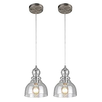 Westinghouse Lighting One-Light Adjustable Mini Pendant with Handblown Clear Seeded Glass (Brushed Nickel 2 Pack)
