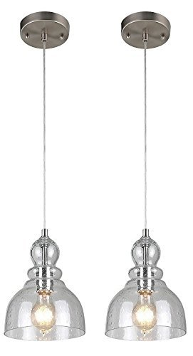 Westinghouse Industrial One-Light Adjustable Mini Pendant with Handblown Clear Seeded Glass, Brushed Nickel Finish - 2 (Pendant Lighting Fixture)