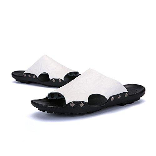 PU Hombres la Piscina Deslizamiento el los la Cuero Sólido en de de Slipper Deslizador de Color White de de Ofxw0qF