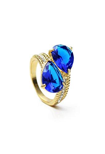 Neogloy Swarovski Element Rhinestone 14k Gold Plated Blue Green Zircon Ring #9 (Blue)